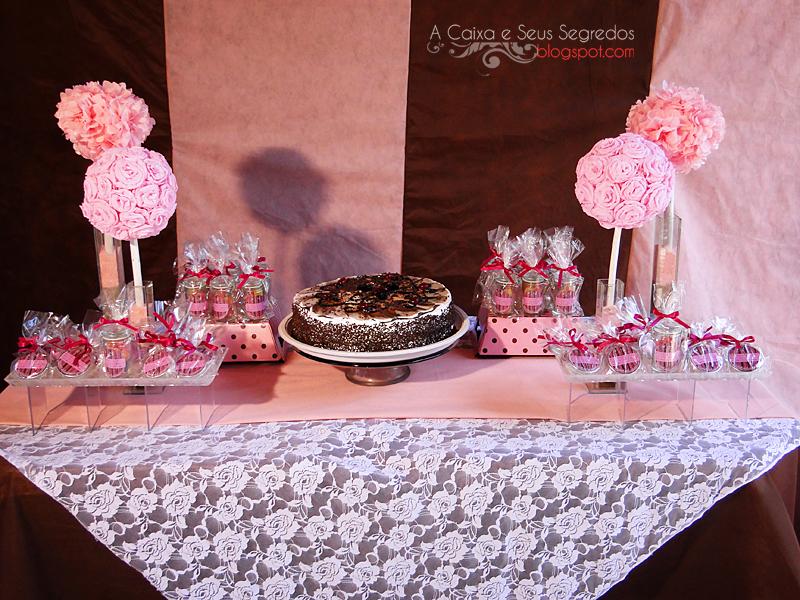 A Caixa e Seus Segredos Decoraç u00e3o chocopink marrom e rosa no estilo faça voc u00ea mesmo  -> Decoração Batizado Faça Voce Mesmo Simples
