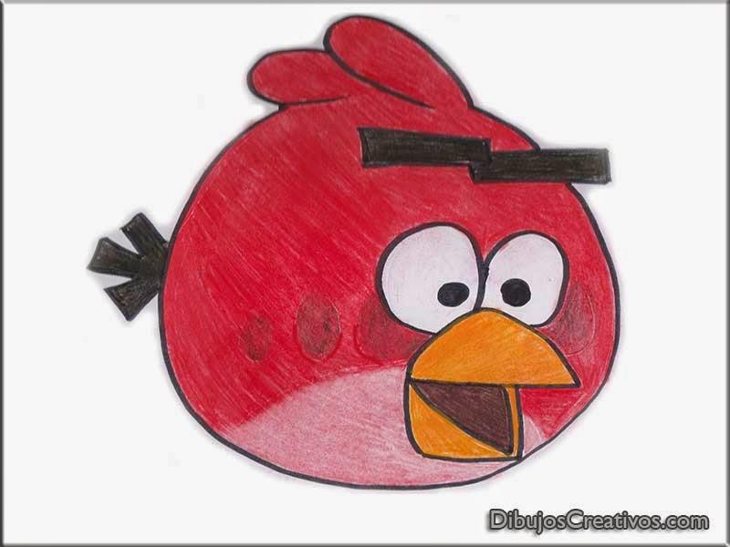dibujos coloreados de PAJARO ROJO ANGRY BIRDS