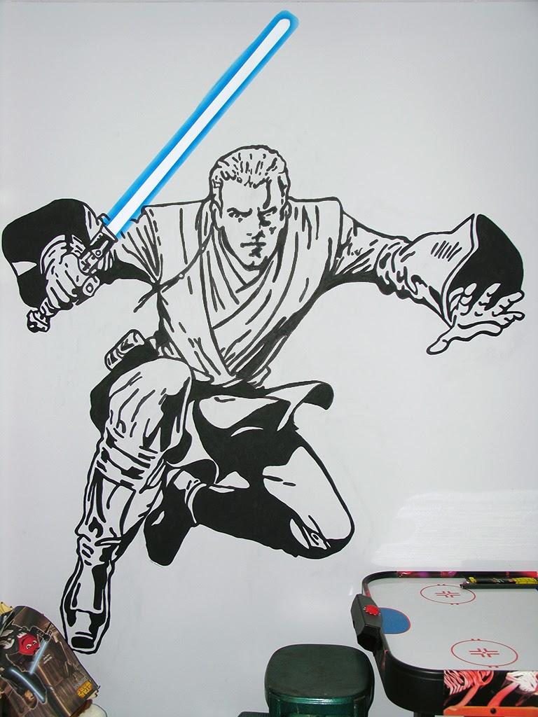 A wall painting of Anikin Skywalker