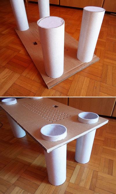 Mesita de trabajo hecha con tubos de cart n y cart n - Mesas de carton ...