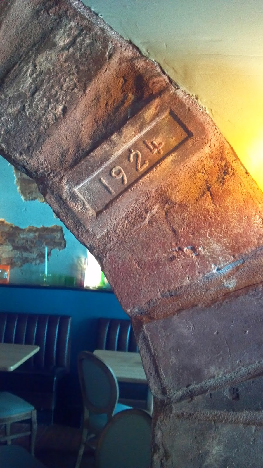 Brick inside One Blue Duck showing date of 1924