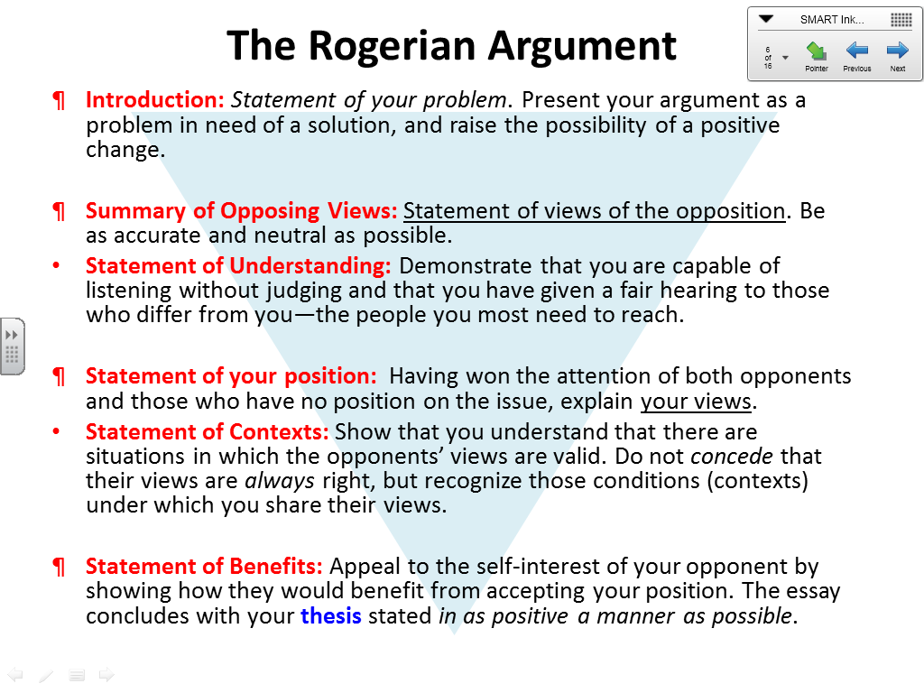 thesis rogerian argument Rogerian argument when most of us think of argument, we think about winners of arguments and losers of arguments arguments, even sometimes academic arguments, can.