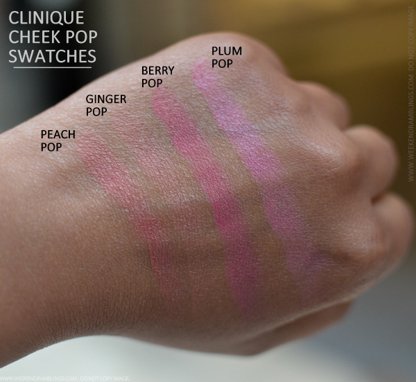 Clinique Cheek Pop Blushes Photos Swatches Berry Plum Peach Ginger Indian Darker Skin Makeup beauty blog