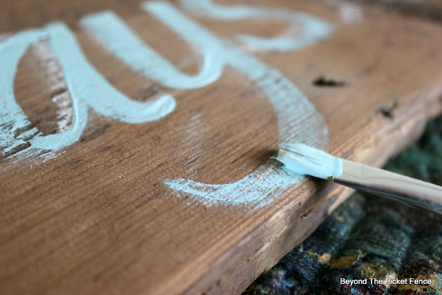 hand lettered, paint, reclaimed wood, salvaged, sign, bedroom decor, beyond the picket fence, http://bec4-beyondthepicketfence.blogspot.com/2015/05/always-kiss-me-sign.html