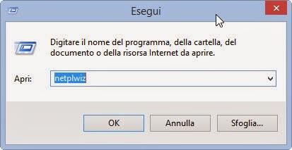 Esegui netplwiz - Windows 8.1