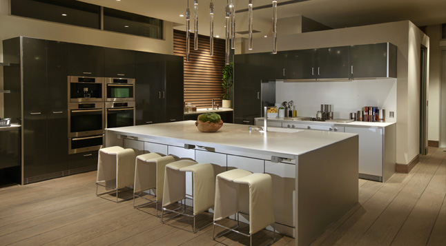 Photo of large modern kitchen as seen at night