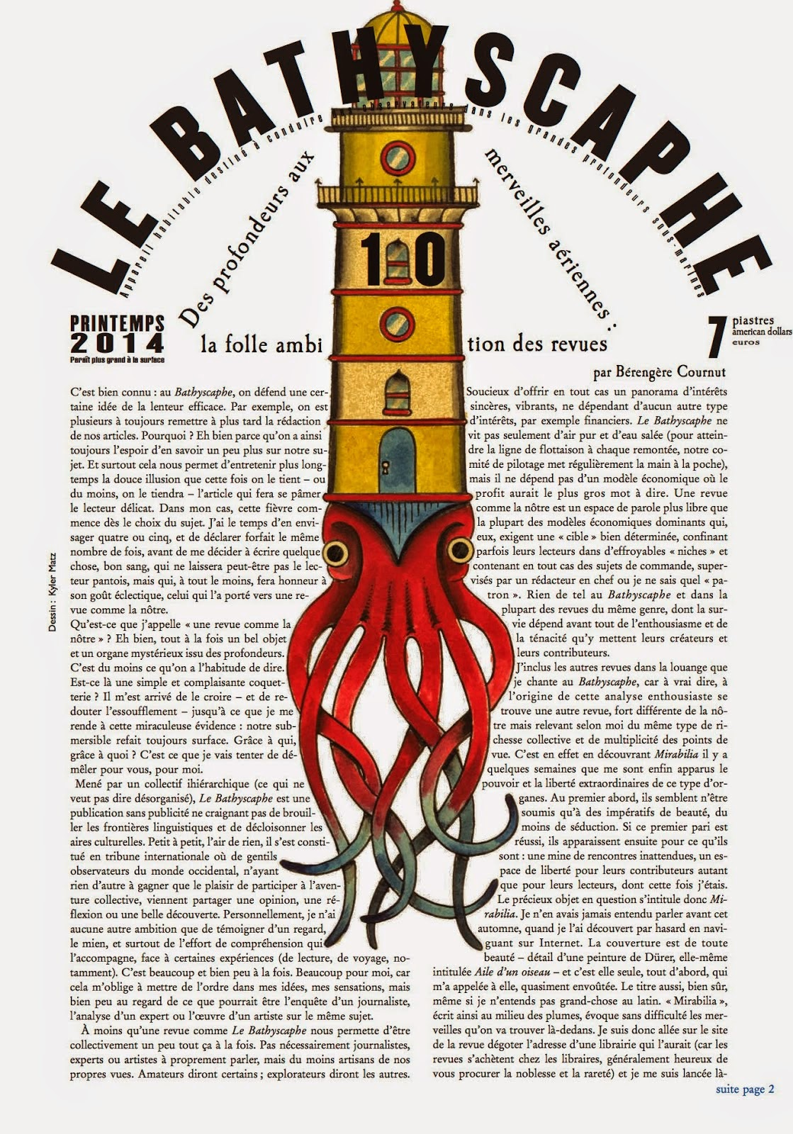 LE BATHYSCAPHE N°10, EDITIONS SELS MAITRES A BORD/OIE DE CRAVAN