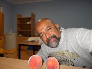 "Delicious Krakow peaches in my hostel room  of ""Dom Studencki Zaulek "" hostel."