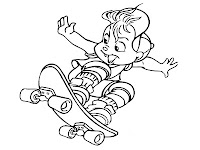 Alvin Chipmunks Skateboarding Printable Coloring Sheet
