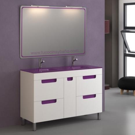 precio mueble baño dos senos 2 lavabos doble cristal berenjena