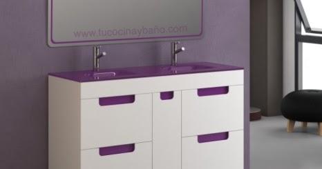 Mueble120 lavabo doble cristal tu cocina y ba o for Lavabo doble seno con mueble