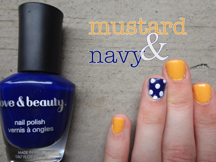 Mustard and navy nails, fall nail designs