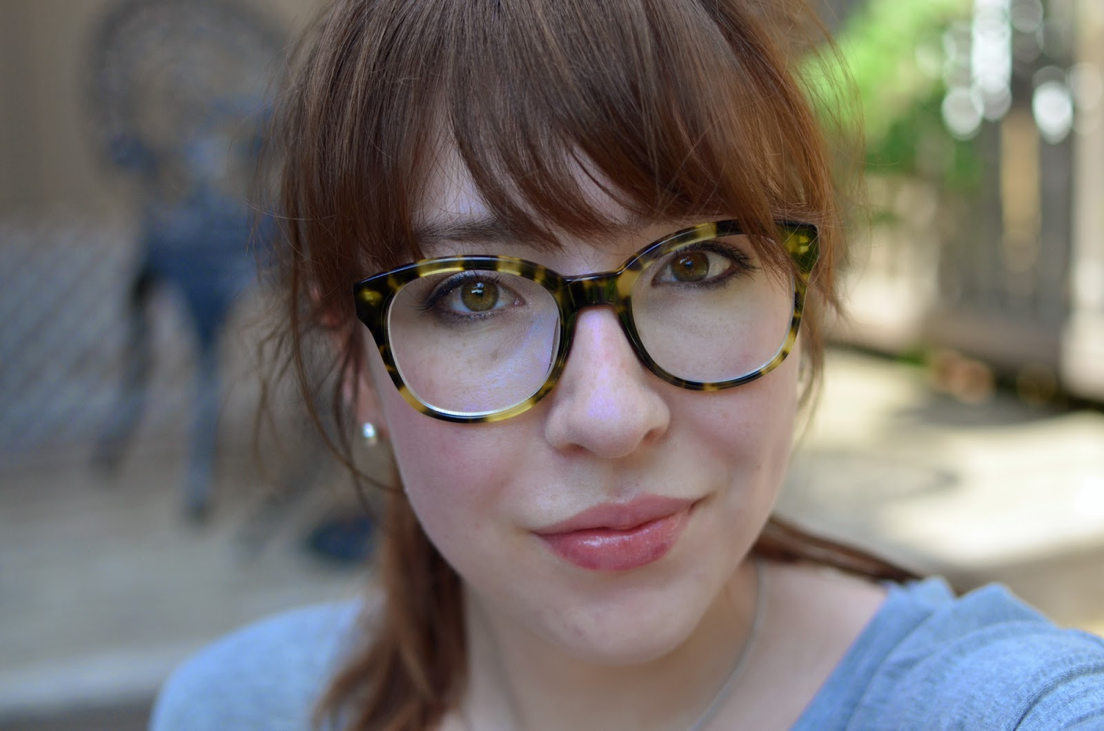 Wearing Warby Parker Mallory glasses in Gimlet Tortoise