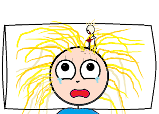 stick figure using a jackhammer on my head as I lay on a pillow, crying.