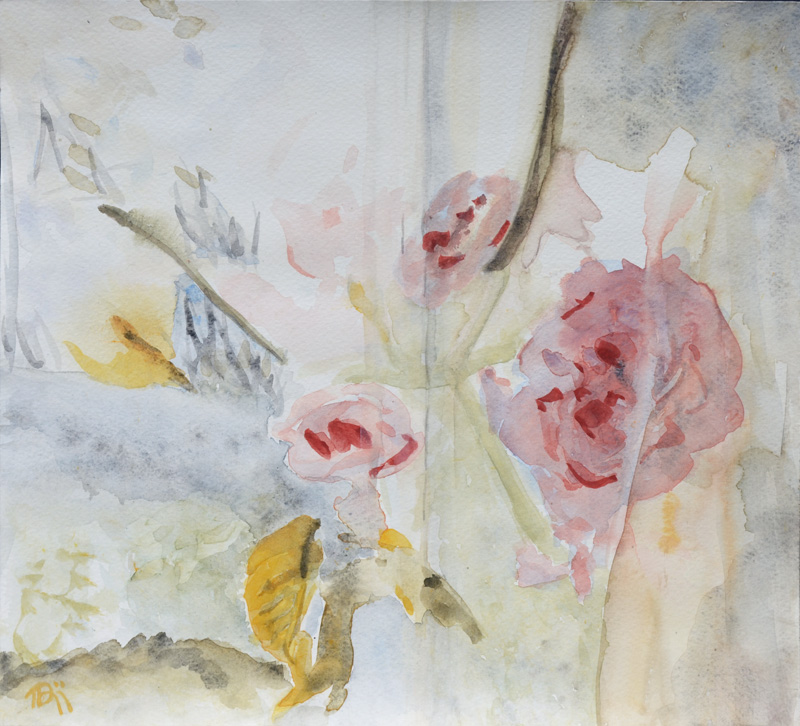 window view, romantic flower painting, watercolor, roses in pink, coral red, yellow, grey and green, fragmented view