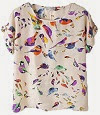 Image: Women Colorful Casual Birds Chiffon Batwing Loose Blouse T-shirt