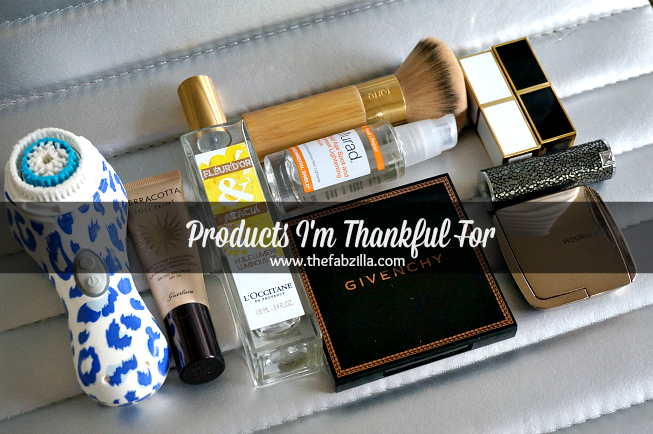 happy thanksgiving, products i'm thankful for, best beauty products, mia 2 clarisonic,l'occitane fleur d'or and acacia, guerlain joli teint terracota,mural rapid age spot and lightening serum, tarte foundation brush, givenchy croisiere, terre exotique,hourglass ambient lighting blush, tom ford lip color, givenchy