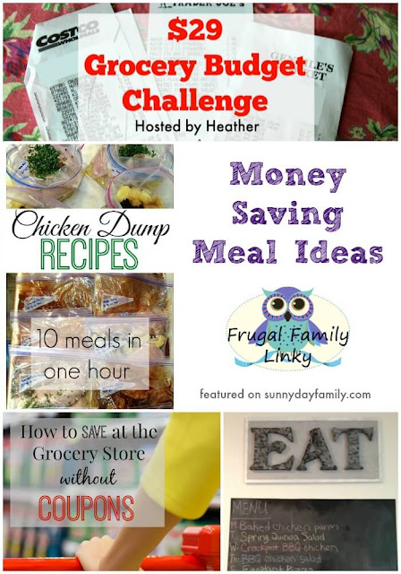 Food budget, meal planning, freezer meal recipes, and grocery store savings featured on the Frugal Family link up!