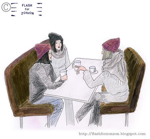 Street Style Helsinki. Beanie Girls in Cafe.