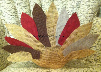 "alt=""burlap and fabric turkey feathers using fabric stiffener tutorial how-to"""
