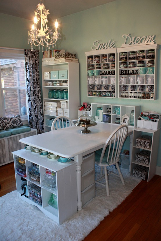 Crafty girl bliss craft room ideas from pinterest Sewing room ideas for small spaces