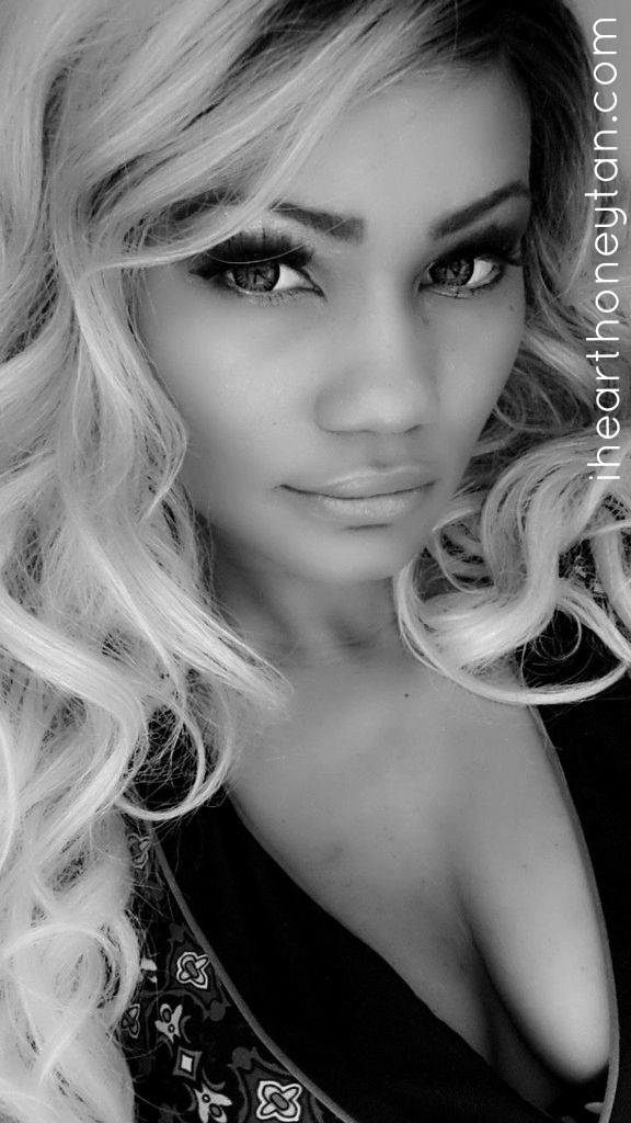 Honey Tan Headshot Black and White Gyaru and Ulzzang style