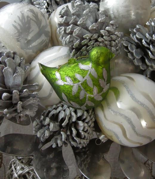 silver pinecones ornaments birds simple Christmas decorations