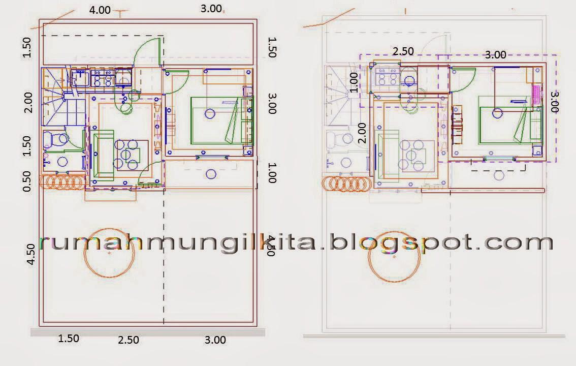 desain rumah tipe 38 tanah 70 2lantai 2kamar tidur