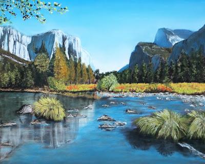 Yosemite, Yosemite Landscape, Yosemite Painting, Mountain, Lake, Landscape, Landscape Painting, Landscape Pastel Painting, Trees, Woodland, Landscape Print, Landscape Greeting Card, Lake Painting, Landscape Fine Art