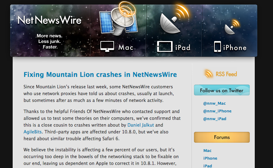 NetNewsWireアプリ