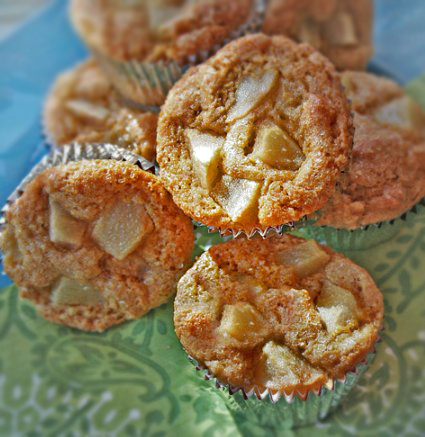 Tender and sweet pear polenta muffins.