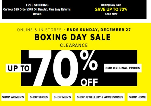 Hudson's Bay Boxing Day Sale Up To 70% Off
