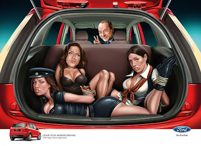 Ford Figo Indian advert with Silvio Berlusconi, belly dancer Karima El Mahroug aka Ruby the Heart Breaker, Silvio's girlfriend Francesca Pascale and (former) sweetheart Nicole Minetti