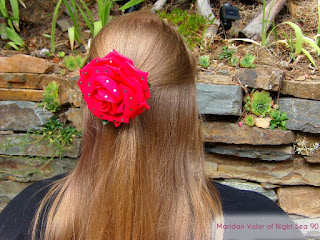 Blogger Maridan Valor sporting Raindrops on Roses hair clip made by Natasha De Vil.