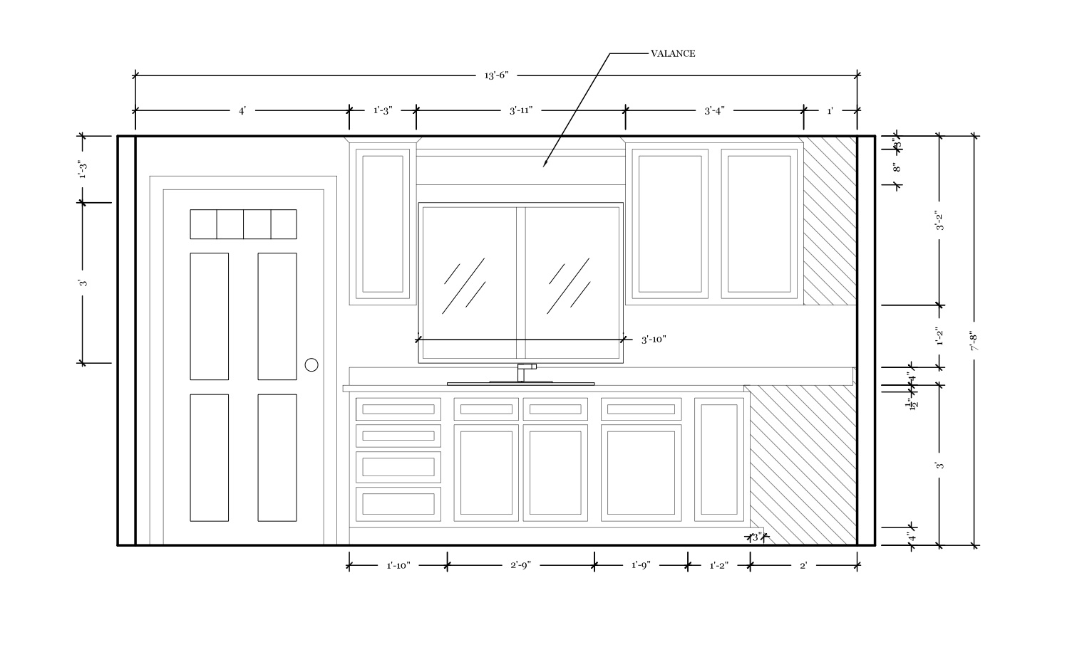 Elevation of the west kitchen wall