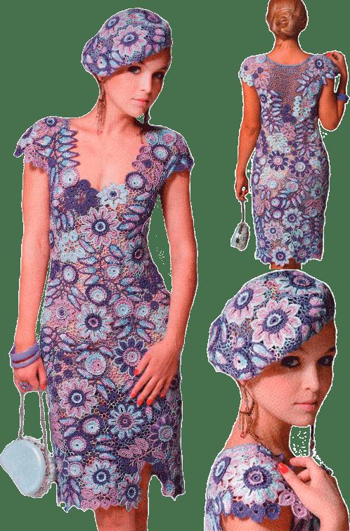 платье в стиле ирландского и сцепного кружева а также фриформ