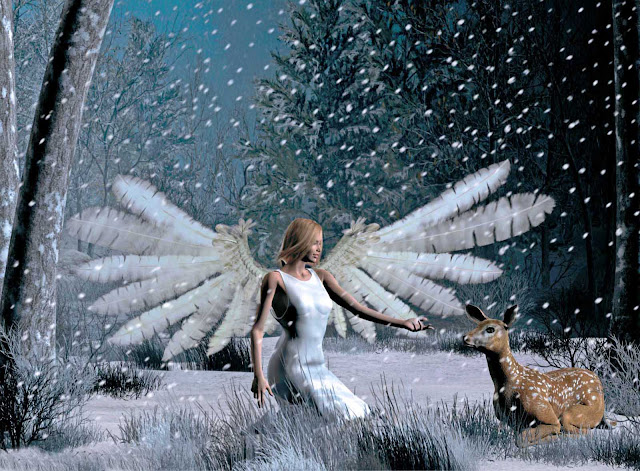 christmas angels playing with dear