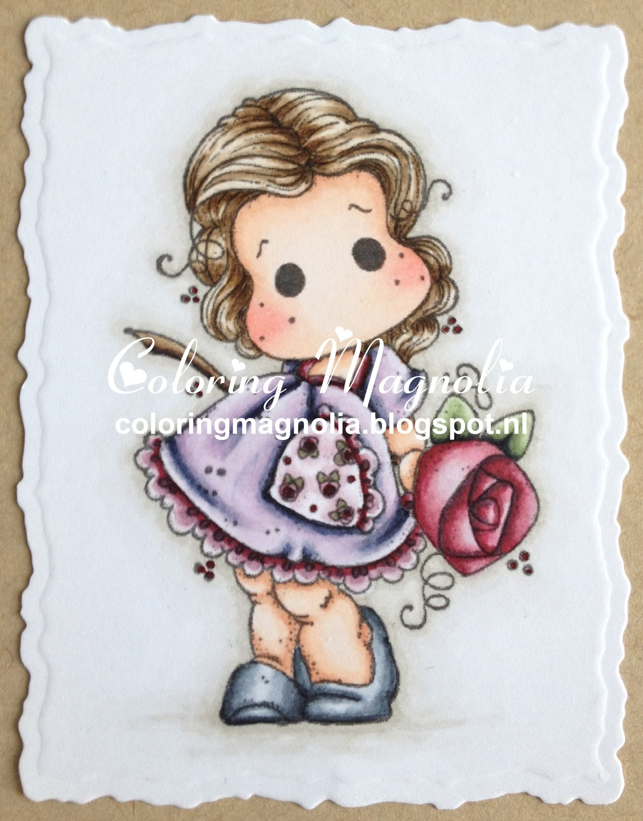 Coloring Magnolia Stamp 2014 Pink Lemonade Collection - Tilda With A Big Big Rose