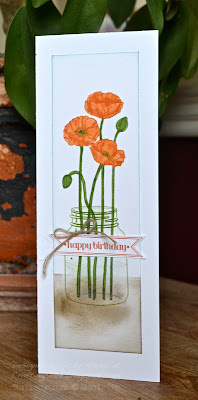 Tall thin card made with Pleasant Poppies from Stampin' Up