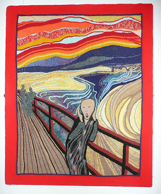 Munch painting the scream in knitting