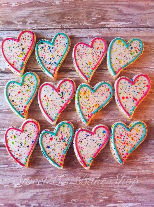 valentine heart cookies teal pink