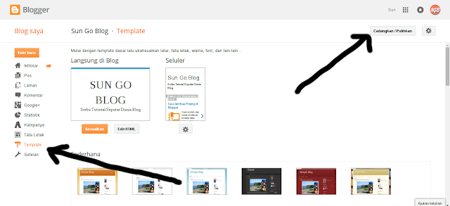 Langkah-langkah mengganti template blog