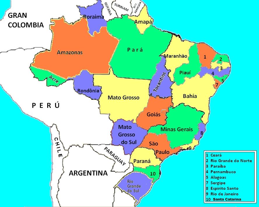 Mapa Con Division Politica De Brasil