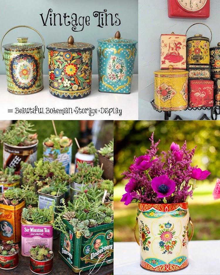 Vintage tin planter/vase