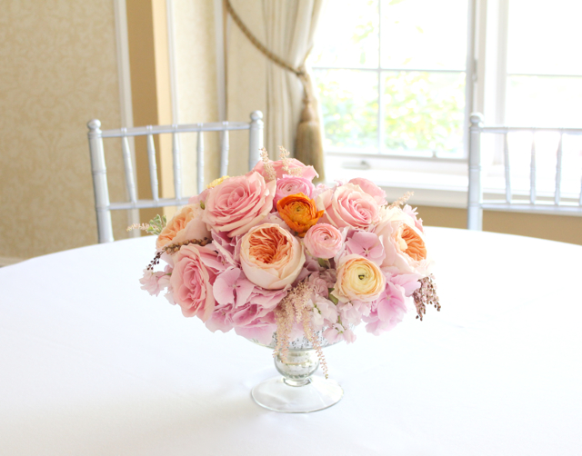 mercury glass compote for barton hills wedding centerpiece filled with ranunculus juliet garden roses peach pink jumbo hydrangea andromeda pieres coral roses, stock flower astilbe by sweet pea floral design ann arbor detroit