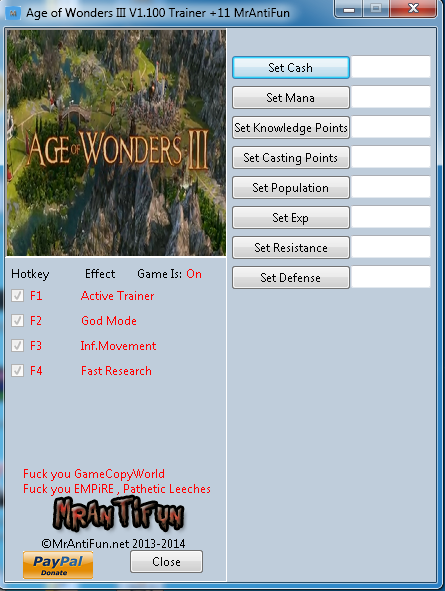 Age of Wonders III V1.100 Trainer +11 MrAntiFun