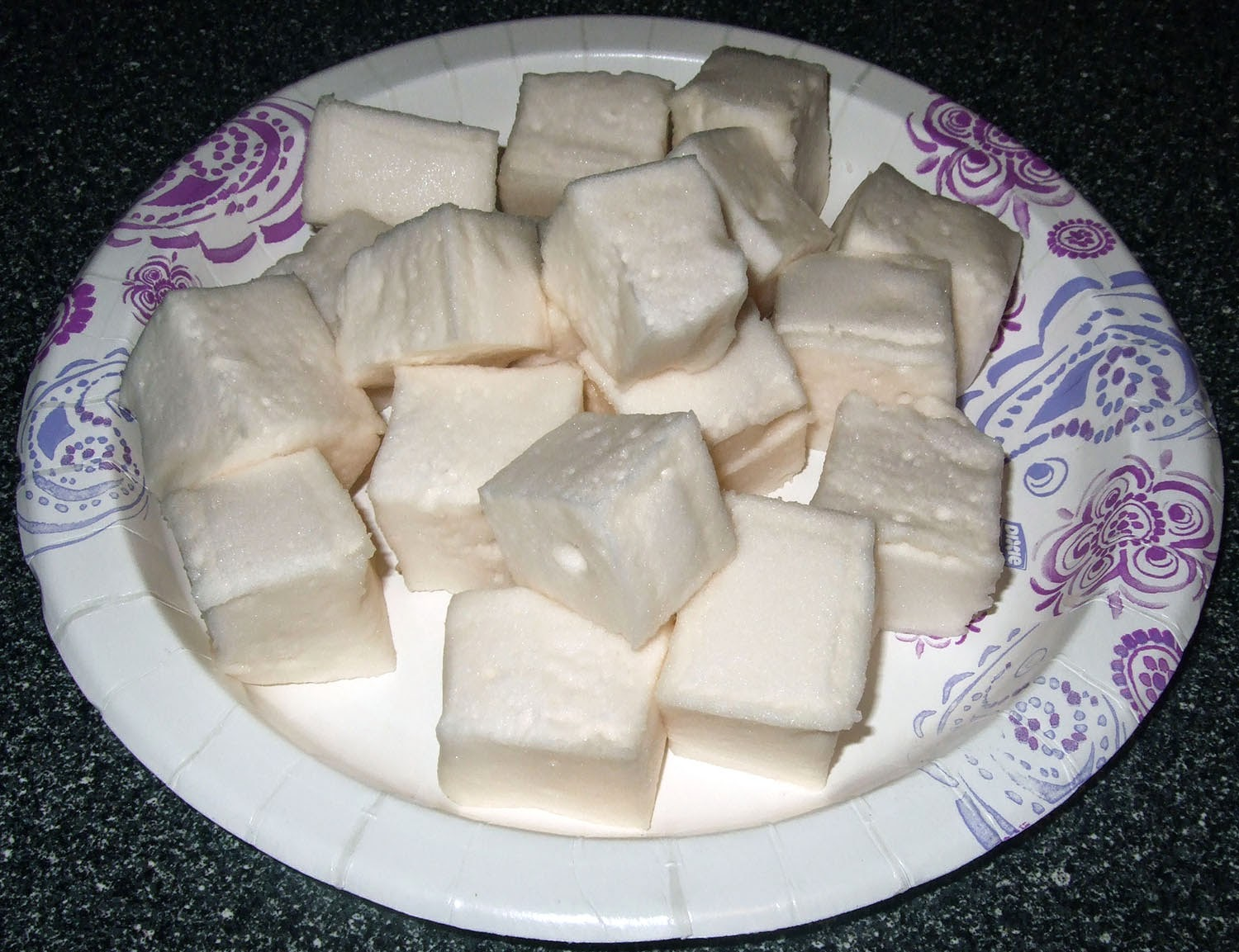 Marshmallows on a plate.