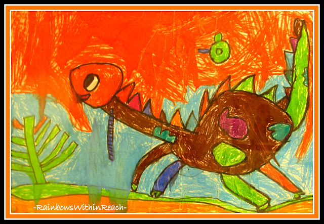 photo of: Child's Drawing of Dinosaur in Colorful Treatment Using Mixed Media