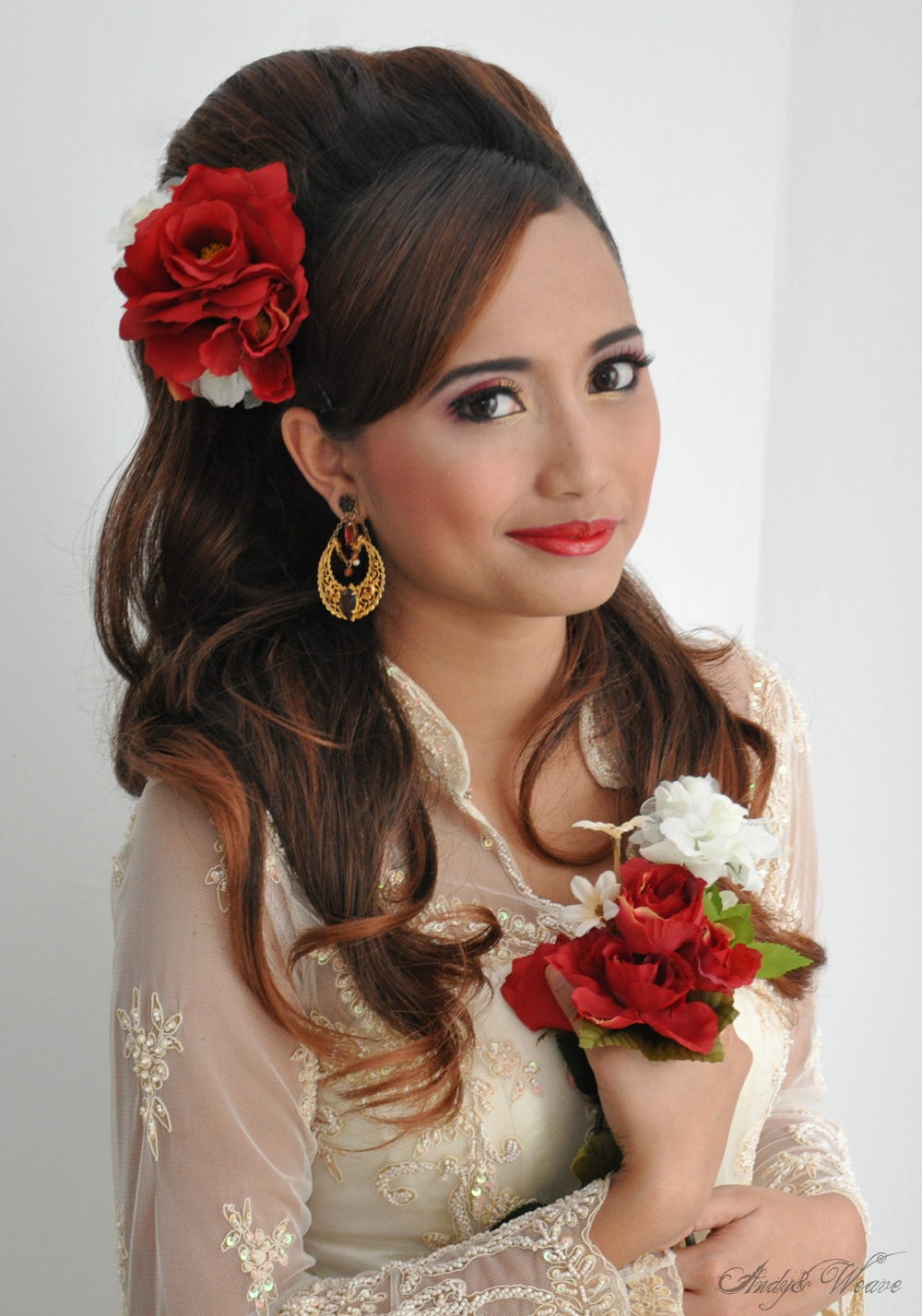 Hair accessories singapore - Bridal Make Up And Bridal Hairstyling Hair Extensions Big Curls Setting Hair Accessories Was Done On Model Sirah