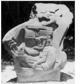Цивилизация древних ольмеков, барельеф, оператор управляем машиной огнедышащим драконом, загадки, тайны истории